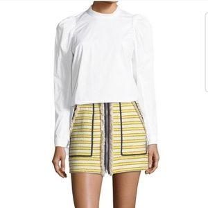 Veronica Beard Lynden Striped Tweed Skirt